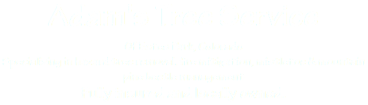 Adam's Tree Service Of Estes Park, Colorado Specializing in hazard tree removal, fire mitigation, mistletoe & mountain pine beetle management Fully insured and locally owned.